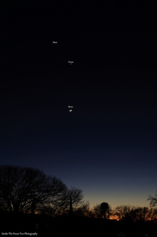 The waxing crescent Moon, Venus, and Mars