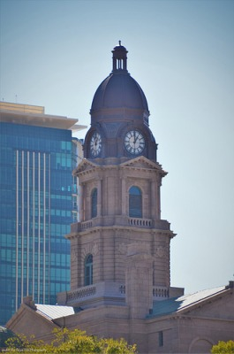 The clock tower of the Tarrant County Courthouse (2014)