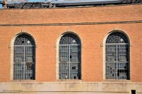 The iconic windows of the Old TXU North Main Power Plant in Fort Worth. The power plant was built in 1912 and on line in 1913.
