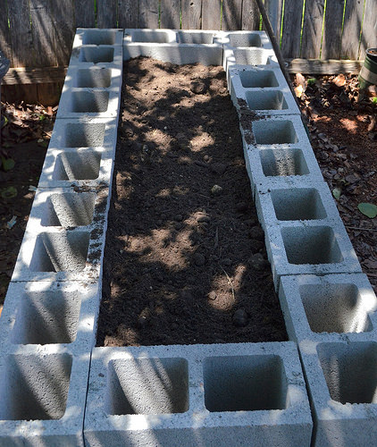 Raised bed filled with topsoil