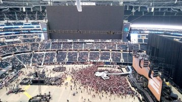 The stadium begins to get crowded with U2 fans.