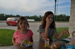 """The girls enjoyed """"Brotzeit"""" at the Welcome Center Rest Area in Missouri."""