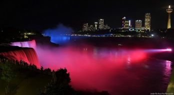 Niagara Falls attracts lots of tourists on a warm June evening.