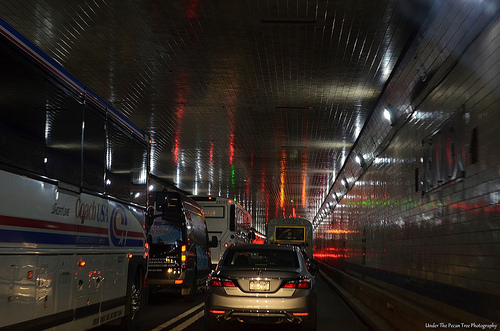 The Lincoln Tunnel under the Hudson River between New Jersey and New York.