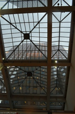 Waiting out the rain storm in Three World Financial Center