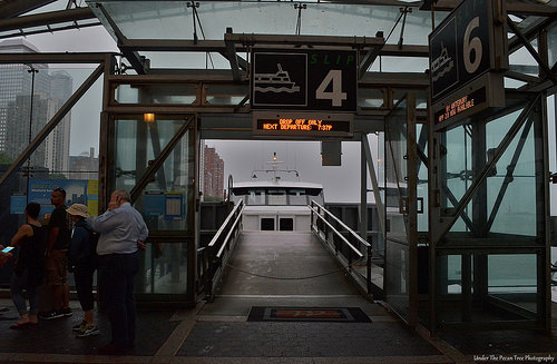The ferry is docked on the World Financial Center Dock