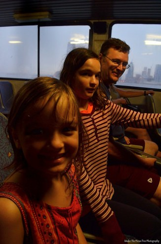 Riding on the ferry from New York to New Jersey