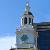 The clock tower of the Independence Hall in Philadelphia