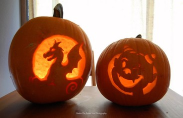 Katelynn's (left) and Sara's (right) pumpkins in 2009
