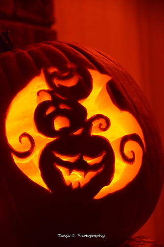 Pumpkin 2012 - I carved only one, due to recovering from the flu on Halloween 2012.