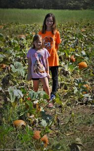 Katelynn and Sara in the Pumpkin Patch