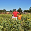 Kevin and the girls in the Sunflower Maze