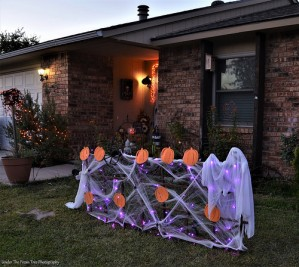 The Halloween decoration at sunset