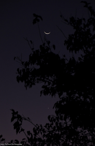 The waning crescent Moon and Venus before sunrise (10-17-2017)