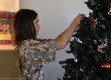 Katelynn is in charge of the Christmas tree decoration.