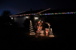 """Sara loves the Christmas lights. Snoopy has a little """"hick up"""", that needs to be fixed."""