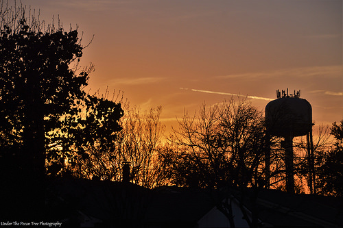 Water Tower Sunset from our house