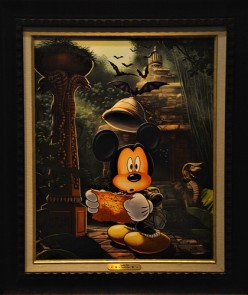 "A painting of Mickey as ""Indiana Jones"" in World of Disney"