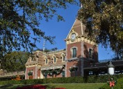 The Disneyland Railroad train station at the entrance of the park.