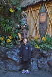 Sara in front of one of the Hawaiian Gods in Disneyland