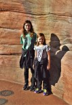 Katelynn and Sara leaning against the walls of the Big Thunder Mountain Railroad walls. Due to the power outage, it was very quiet in that area.