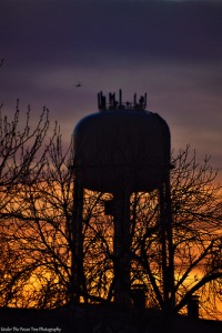 Water tower/trees silhouette in Winter sunset