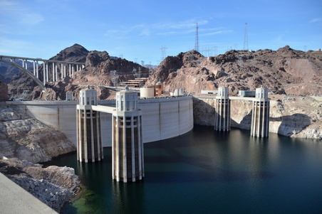 The backside of Hoover Dam