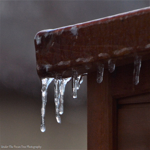 Icicles on the corner of the catio