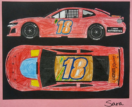 Sara's entry car design for the Lionel Racing NASCAR Die-Cast Competition.