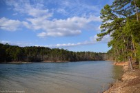 The lake between the bigger and smaller peninsula of Lake Ouachita State Park