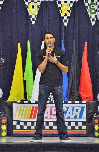 Aric Almirola visited Sara's school last Thursday.