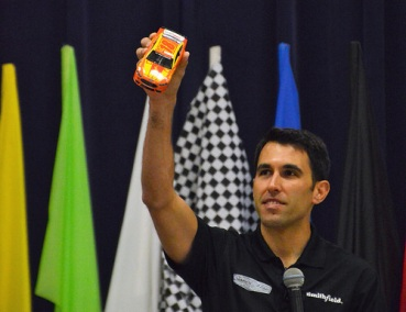 "Aric Almirola shows the winning design of the this year's ""DieCast"" design challenge."