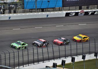 Kyle Bush (#18), Eric Jones (#20), Kurt Busch (#41), and Joey Logano (#22)