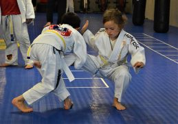 """Ben takes Sara down with a """"Single Takedown"""". Good partner ship is important in Martial Arts."""