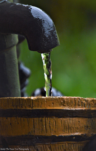 Our water fountain still operates in the rain.