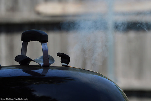 Hmmm! Smoke is released from the grill.