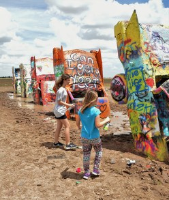 Katelynn and Sara at the Cadillac Ranch