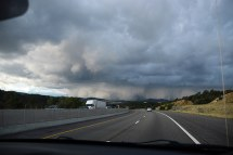 """Sara: """"It looks like a volcano has exploded!"""" Another storm's brewing over Albuquerque."""