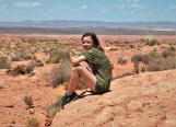 Katelynn takes a rest on a rock at the Horseshoe Bend trail in Arizona.