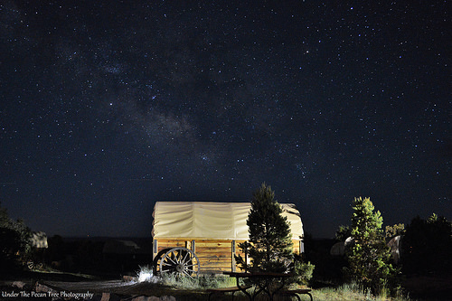 The Milky Way behind a Pioneer Wagon