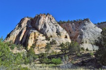 Looking north across from Checkerboard Mesa at the Zion-Mt. Carmel Highway near the eastern entrance of the park.