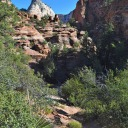 An undefined hiking trail along Zion-Mt. Carmel Highway
