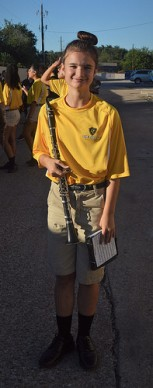 One quick photo of Katelynn, before the parade begins and the band will march to the High School.