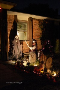 Halloween display in front of our house in 2011