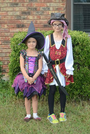 Sara as a lil' Witch; Katelynn as a Pirate
