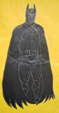 A friend of us was drawing these silhouette Superheroes for the curriculum night. Batman alone was about 4 feet tall.