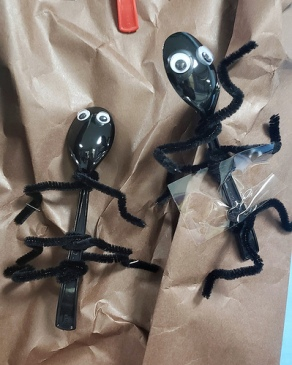 Spiderman has a lot of friends for Science. Here are some ants made out of spoons, pipe cleaners and googly eyes.