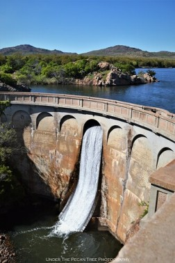 The spillway gate is open at Quanah Parker Lake.