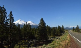 Mount Shasta (left), Mount Eddy in the background, and Volcanic Legacy Scenic Byway (US 97)
