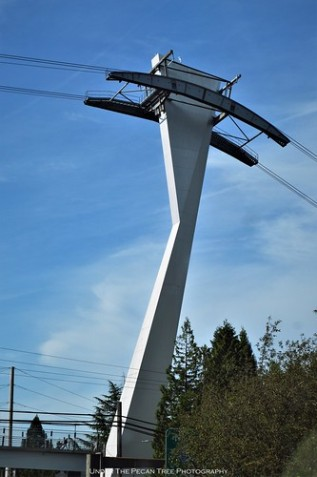 The Portland Aerial Tram support tower at Interstate 5